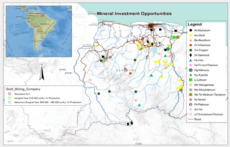 MAP-Mineral sources in Suriname